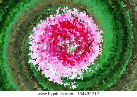 Swirl pink flower and green leaf by impressionist