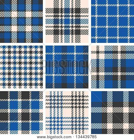 set of tartan seamless pattern, checkered pattern, plaid pattern, vintage style set 3