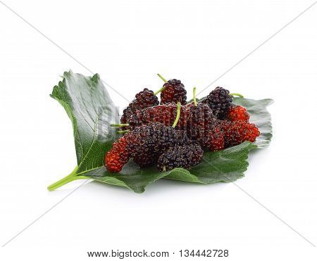 mulberries with a leaves. Isolated on a white background