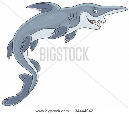 Vector illustration of a deep-see goblin shark with an insidious smile