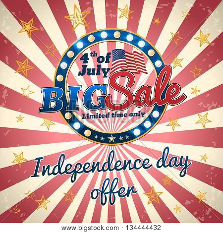 Big sale - Independence day offer 4th of July trade banner poster for web or print vector template