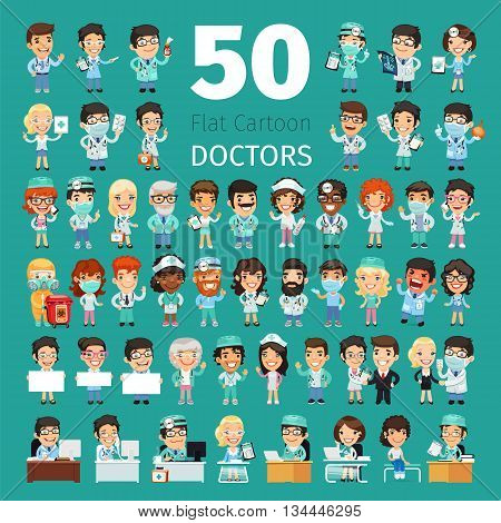 Big set of 50 doctors and other hospital workers. Clipping paths included.