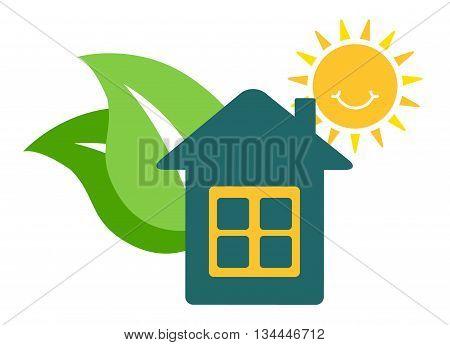 Vector eco icon home. house turnkey. Eco home turnkey illustration. House turnkey Flat design style.