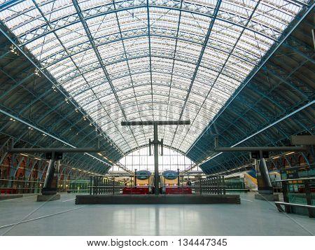 LONDON, UK - CIRCA OCTOBER 2013: Eurostar trains at St Pancras International station
