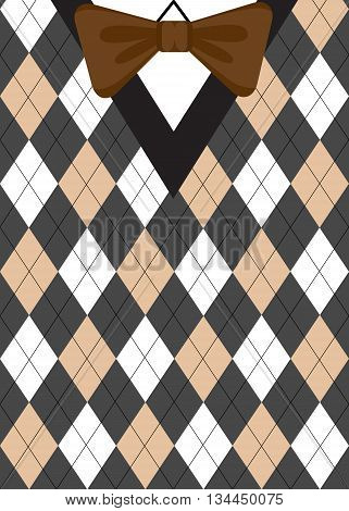 Argyle sweater background with brown bow-tie. Preppy style