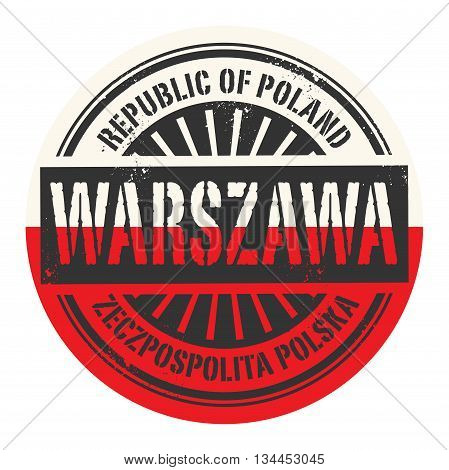 Grunge rubber stamp with the text Republic of Poland, Warszawa, vector illustration