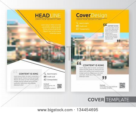 Abstract business and corporate cover design layout. Suitable for flyer brochure book cover leaflet and annual report. Yellow and white color A4 size template background with bleed. Vector illustration