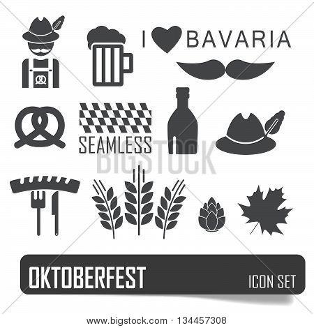 Octoberfest Icon Set. German Festival Food And Beer Symbols. Vector Illustration. Oktoberfest Beer F