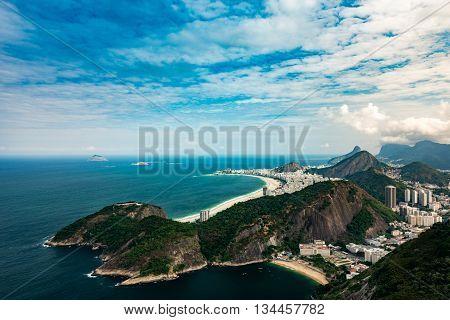 Rio De Janeiro Hills, panoramic view, horizontal image