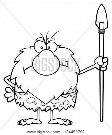 Black And White Angry Male Caveman Cartoon Mascot Character Standing With A Spear