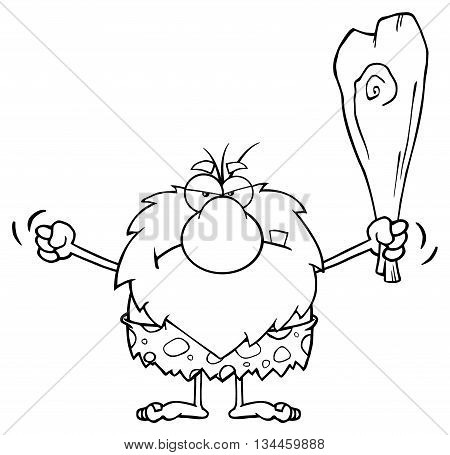 Black And White Grumpy Male Caveman Cartoon Mascot Character Holding Up A Fist And A Club