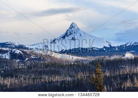 Mount Hood In Oregon Covered With Snow,  Usa