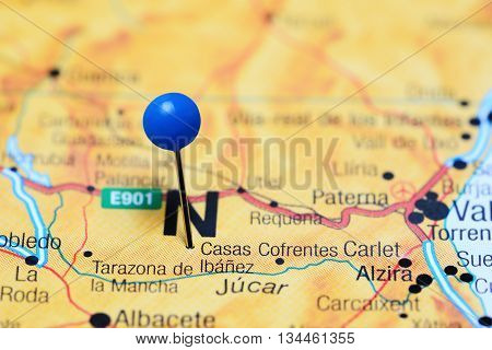 Casas Ibanez pinned on a map of Spain