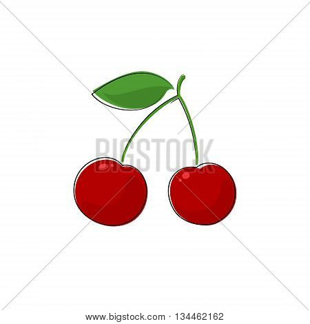 Red Berry Cherry, Fruit Cherries Isolated on White, Prunus Avium, Wild Cherry ,Sweet Cherry ,Vector Illustration