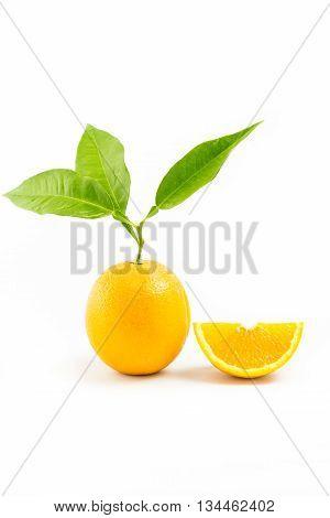Fresh Orange Isolated With Leafs And Orange Slice On White Background