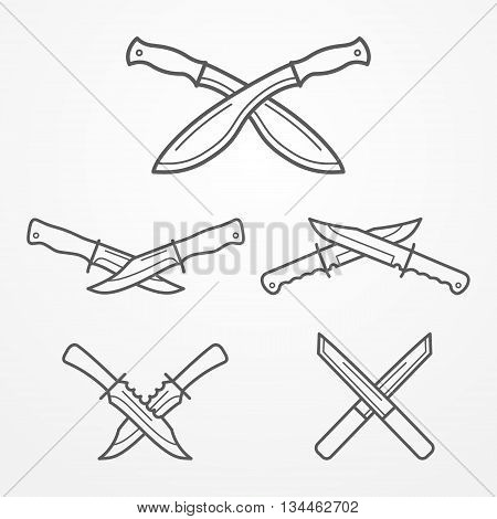 Collection of crossed hunter knives. Hunter knife line logo set. Typical hunter knives. Crossed knives samples. Hunter knife stock vector illustration.
