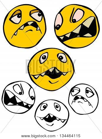 Assortment of facial expressions, in color and black and white