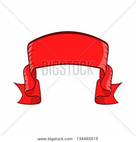 Red banner icon in cartoon style on a white background