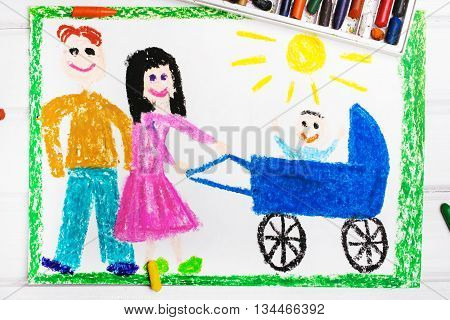 Colorful drawing: Happy parents with a baby in a stroller