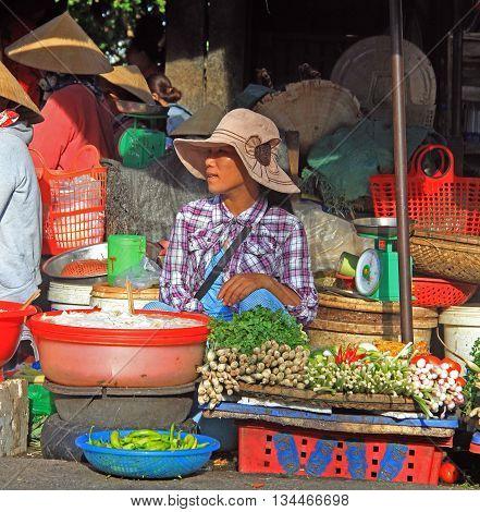 Woman Is Selling Vegetables On Street Market In Hue, Vietnam