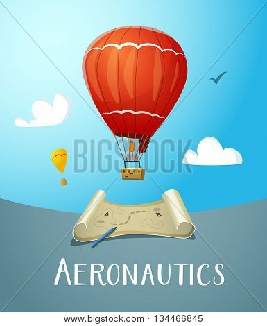 Aeronautics hot air balloon flying in blue sky. Surrounded with some white clouds. Map with market route plan and pencil. Vector illustraion for print and web design.