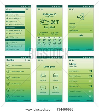Vector set of modern mobile user interface design. Green template of mobile app.