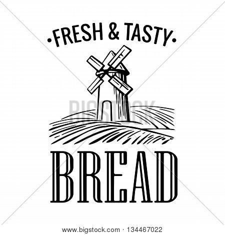 Bakery shop logo. Mill on wheat field in black, white, yellow color. Vintage vector engraving illustration for logotype, label, badges, poster, web, icon.