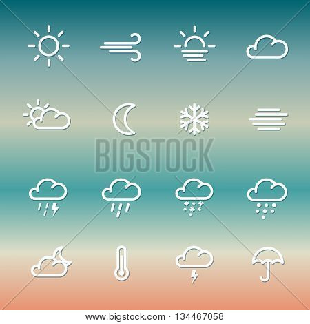 Lines weather forcast Icon collection on gradient. Simple vector symbols.