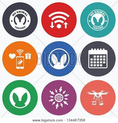 Wifi, mobile payments and drones icons. No animals testing icons. Non-human experiments signs symbols. Calendar symbol.