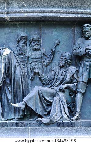 VELIKY NOVGOROD RUSSIA - JUNE 14 2016. Sculptural group Statesmen at the monument Millennium of Russia - sculptures of Alexei I Tsar and Ordin-Nashchokin and Matveyev - statesmen and diplomats