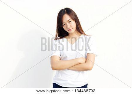 Thai Girl With White T-shirt Cross Arm