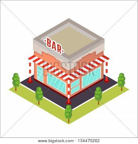 Vector isometric restaurant icon. Stock vector. Vector illustration.