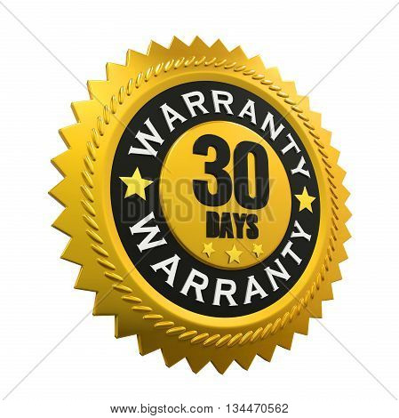 30 Days Warranty Sign isolated on white background. 3D render