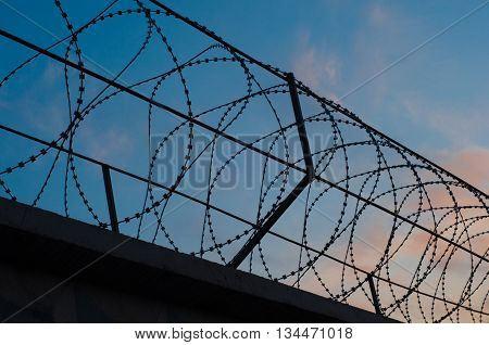 fence with barbed wire stretched circles on the background of the cloudy sky with the glow of the setting sun