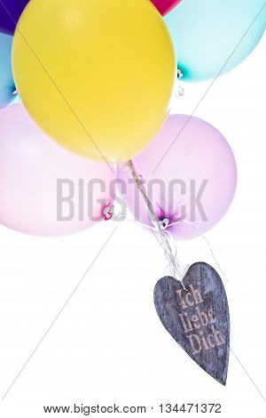 Colorful Balloons With Wooden Heart, Concept Love