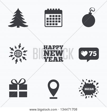Calendar, like counter and go to web icons. Happy new year icon. Christmas tree and gift box sign symbols. Location pointer.