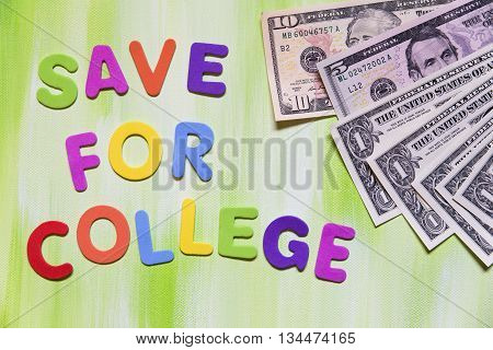 Colorful Letters And Dollars, Save For College
