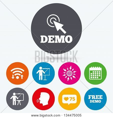 Wifi, like counter and calendar icons. Demo with cursor icon. Presentation billboard sign. Man standing with pointer symbol. Human talk, go to web.