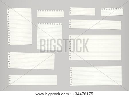 Pieces of cut out beige ruled notebook paper are stuck on gray background.