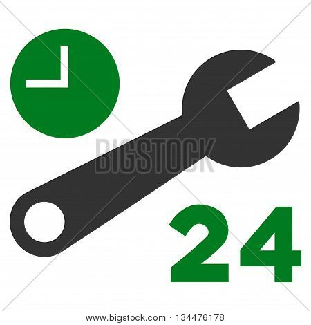Nonstop Service Hours vector icon. Style is bicolor flat icon symbol, green and gray colors, white background.