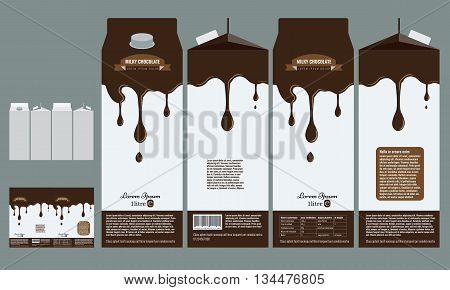 Branding package design. Milky chocolate package box design template with flat color style.