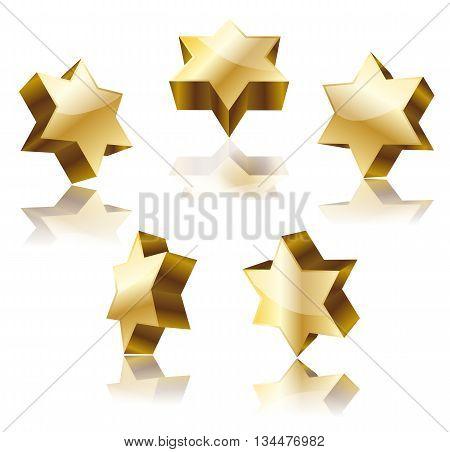 set of golden star of David on white. vector illustration