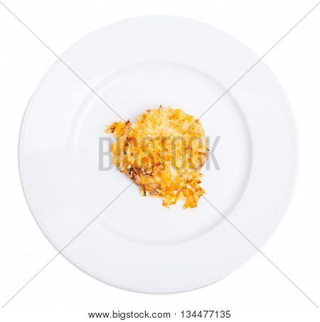 Chicken rissole covered with cheese. Isolated on a white background.