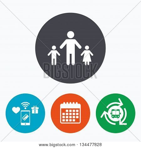 One-parent family with two children sign icon. Father with son and daughter symbol. Mobile payments, calendar and wifi icons. Bus shuttle.