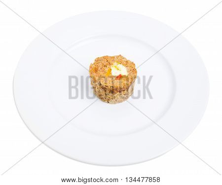 Minced chicken roulade with eggs and vegetables. Isolated on a white background.