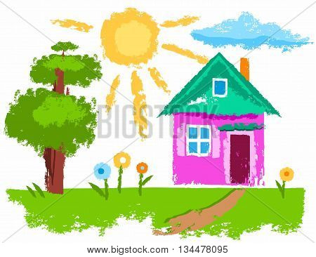Vector illustration with a house. Near the house a tree and a few flowers. Crayons, imitation texture. A color image on a white background.