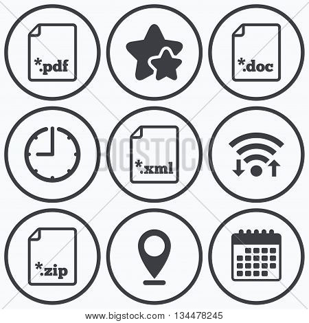 Clock, wifi and stars icons. Download document icons. File extensions symbols. PDF, ZIP zipped, XML and DOC signs. Calendar symbol.