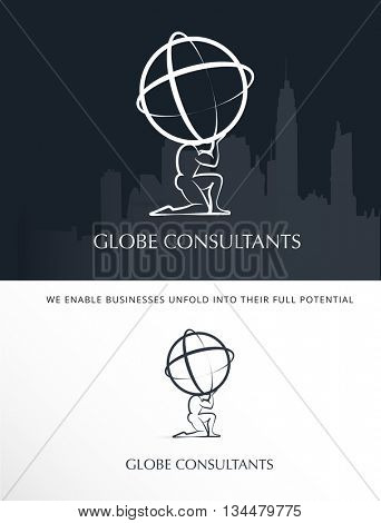 MAN'S SILHOUETTE HOLDING THE WORLD , BUSINESS VECTOR LOGO / ICON