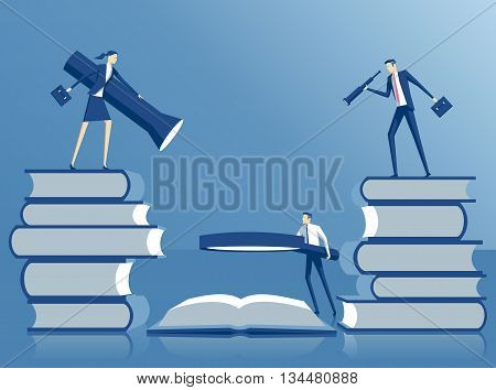 Business concept team education and search business people standing on a stacks of books looking for a solution in the book using the flashlight magnifying glass and telescope search in the book