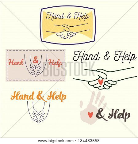 Image Set handshakes and hands holding the heart of the thin lines with text. Relationships people vector illustration